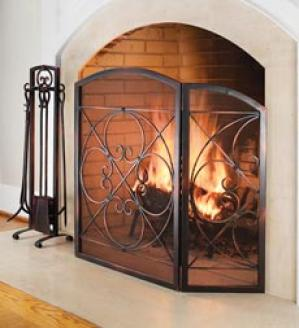 Small 2-door Copper Scroll Fire Screen