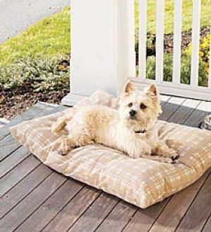 Small Weatherproof Dog Bed  (up To 40 Lbs)   Tan Plaid Only