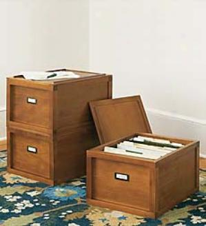 Stacking File Boxes, Set Of Three