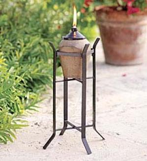 Terra Cotta Torch With Metal Stand