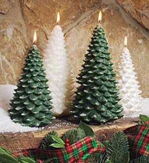 Tree Candles, Set Of 2  White Merely