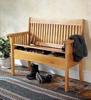 Walnut Finish Pine Storage Bench