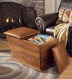 Wood & Leather Ottoman