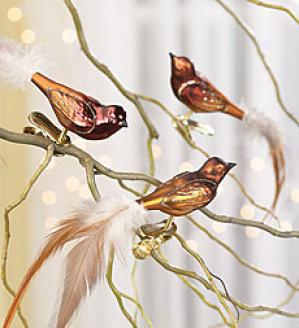 Woodland Glass Bird Ornaments, Set Of 3
