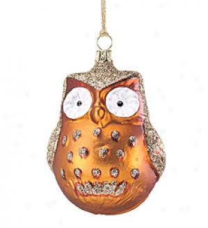 Woodland Glass Owl Embellishment