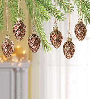 Woodland Glass Pine Cone Ornaments, Set Of 6