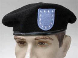 Genuine Military Quality Black Wool Beret W/u.s. Army Flash