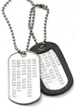 G.i. Dog Tag Id & Chain Set- Embossed With Your Information