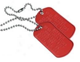 G.i. Dog Tag Id & Chain Arrange- Red Aluminum Plates Embossed