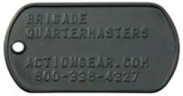 G.i. Dog Tag Id Subdued Black Plate Embossed With Your Information