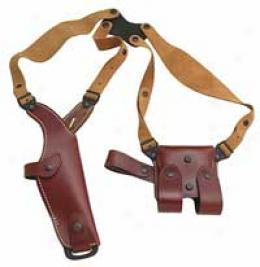 Vega® Vertical Military Leather Shoulder Holster & Double Magazine Pouch System